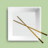 方形餐盘与筷子矢量图