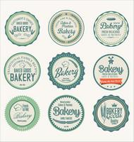 面包甜品标签矢量图片
