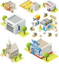 卡通建筑模型矢量图片
