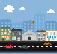 卡通街边建筑矢量图片