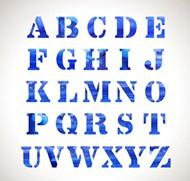 水彩字母矢量图片