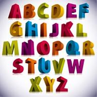 3D立体字母矢量图片