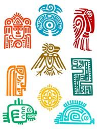 古典玛雅图标矢量图片