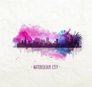 水彩城市矢量图片