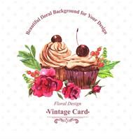 玫瑰和纸杯蛋糕矢量图片