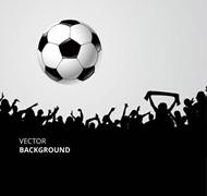 足球和人群剪影矢量图片