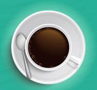 咖啡俯视图矢量图片