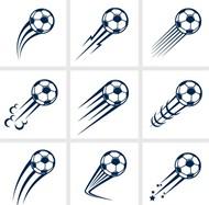 动感飞起的足球矢量图片