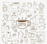 手绘咖啡元素矢量图片