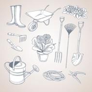 手绘园艺工具矢量图片