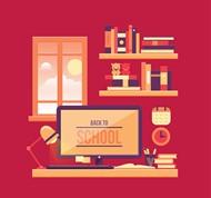 书房开学海报矢量图片