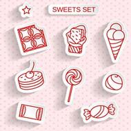 美味甜品贴纸矢量图片