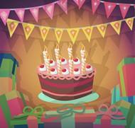 生日蛋糕贺卡矢量图片