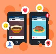 手机送餐app矢量图片