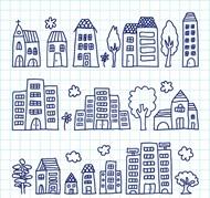儿童手绘房屋矢量图片
