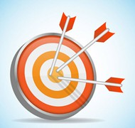 射中的橙色箭靶矢量图片