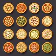 披萨俯视图矢量图片