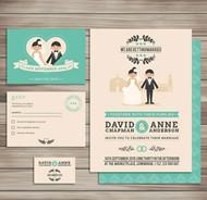 卡通婚礼卡片矢量图片