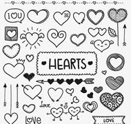 手绘爱心元素矢量图片