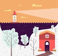 卡通冬季海港风景矢量图片