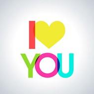 爱你艺术字矢量图片