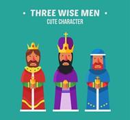 卡通三个国王矢量图片