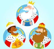 3个国王标签矢量图片