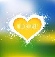 你好夏天黄色爱心矢量图片