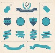 空白丝带与标签矢量图片