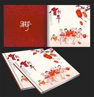 猴年春节画册封面矢量图片