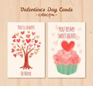 水彩情人节卡片矢量图片