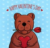 棕熊情人节贺卡矢量图片
