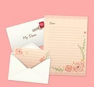 情人节信封和信纸矢量图片