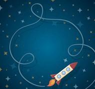 卡通火箭和轨迹矢量图片