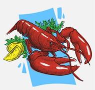 红色龙虾料理矢量图片