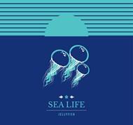 彩绘海底水母矢量图片