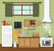 整洁厨房矢量图片
