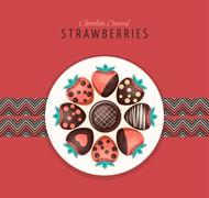 草莓拼盘矢量图片