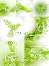 绿叶组合背景矢量图片