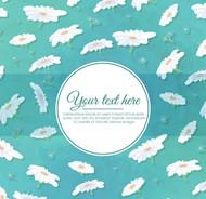 白色菊花蓝色背景矢量图片