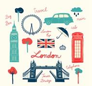 英国伦敦旅行元素矢量图片