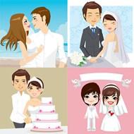 新娘新郎人物矢量图片