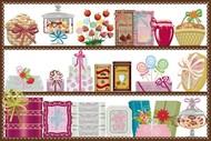 卡通橱窗糖果商店矢量图片