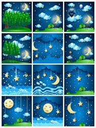 夜晚卡通景色矢量图片
