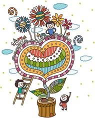 卡通心形植物插画矢量图片