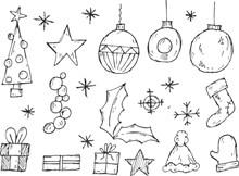 圣诞装饰素材简笔画精美图片