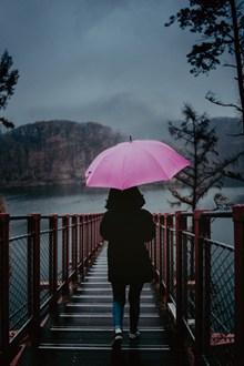美女雨天打伞背影高清图片