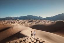 沙漠情侣写真背影图片素材