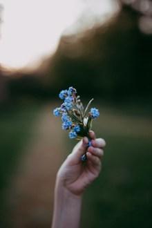 非主流手拿蓝色小花高清图片