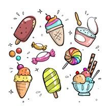 手绘冰激凌卡通高清图